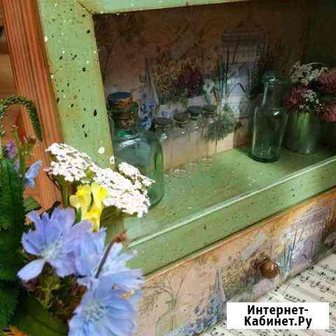 Витрина со стеклом декупаж Дмитров