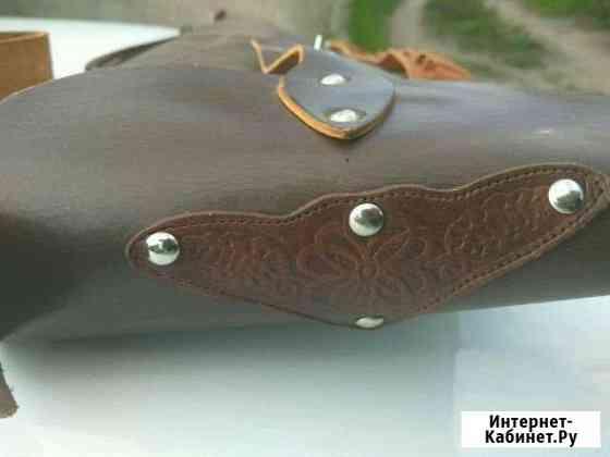 Кожаный чехол под оружие с художественной росписью Балахна