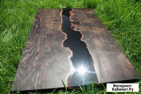 Обеденый стол-речка из массива дерева под маслом Владивосток