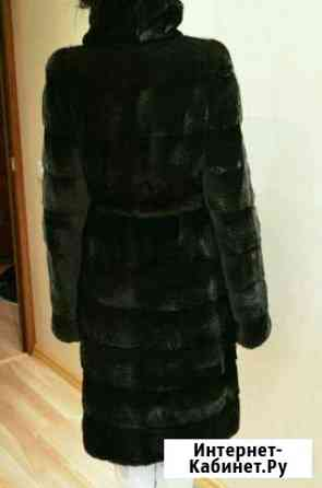 Шуба норковая Black Glama, поперечная, цвет черный Магадан