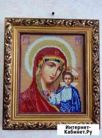 Икона Б.М. Казанская, бисером вышивка,31 х 26,5 Тольятти