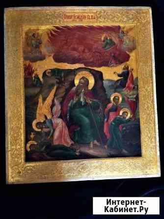 Икона, Огненное Восхождение Илии школа палех Москва