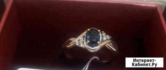 Сапфир и 6 бриллиантов- золотое кольцо Владикавказ