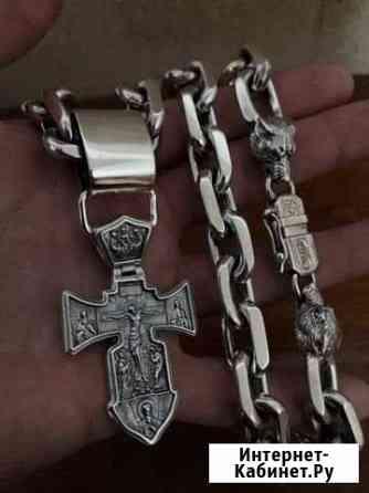 Серебряная цепь и крест Краснодар