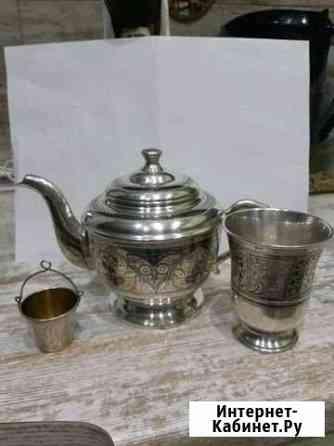 Столовое серебро чайник,стакан Кубачи,ситечко 875 Астрахань