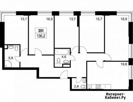 5-комнатная квартира, 135.7 м², 36/36 эт. Москва