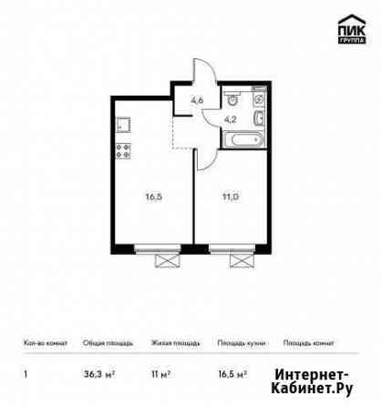 1-комнатная квартира, 36.3 м², 7/13 эт. Мытищи