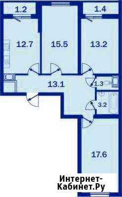 3-комнатная квартира, 78.5 м², 22/25 эт. Пушкин