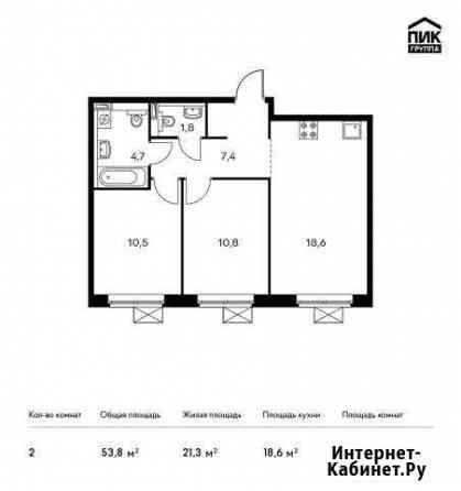2-комнатная квартира, 53.8 м², 7/13 эт. Мытищи