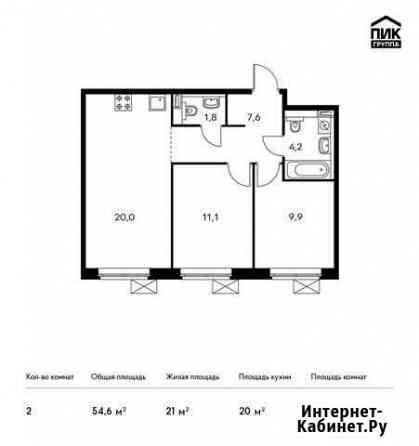 2-комнатная квартира, 54.6 м², 18/22 эт. Мытищи