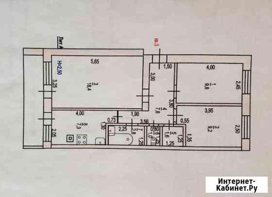 3-комнатная квартира, 58 м², 1/2 эт. Калач