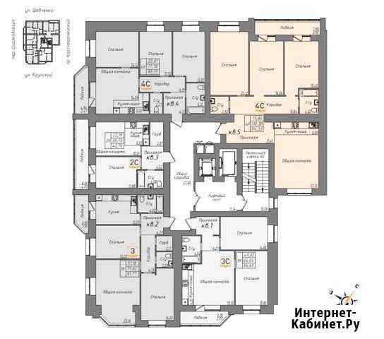 4-комнатная квартира, 114.3 м², 14/16 эт. Барнаул