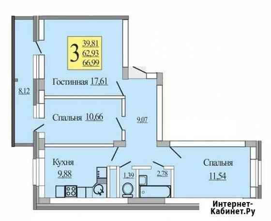 3-комнатная квартира, 67 м², 5/10 эт. Отрадное
