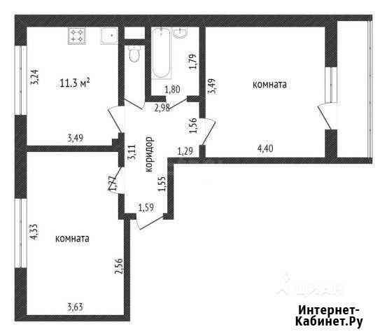 2-комнатная квартира, 53.8 м², 25/25 эт. Кудрово