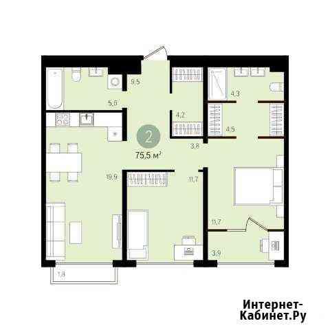 2-комнатная квартира, 75.5 м², 15/16 эт. Екатеринбург