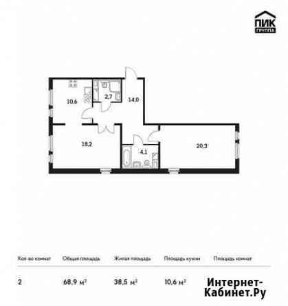 2-комнатная квартира, 68.9 м², 6/14 эт. Мытищи