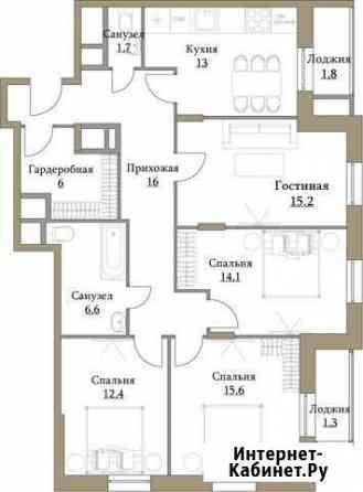 4-комнатная квартира, 103.7 м², 15/17 эт. Москва