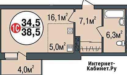 Своб. планировка, 38.5 м², 14/24 эт. Новосибирск