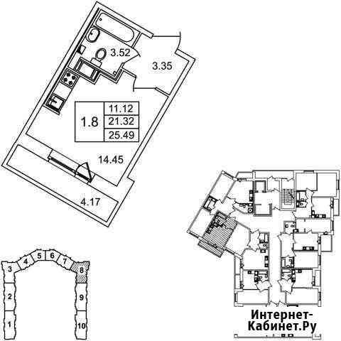 Студия, 25.5 м², 10/17 эт. Мурино