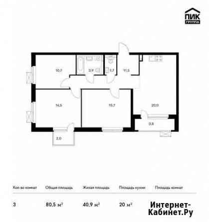 3-комнатная квартира, 80.5 м², 6/25 эт. Санкт-Петербург