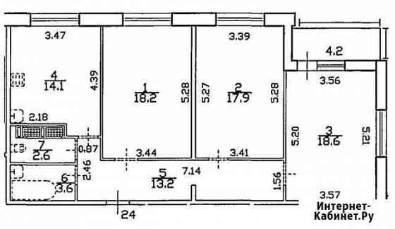 3-комнатная квартира, 93.3 м², 3/7 эт. Санкт-Петербург