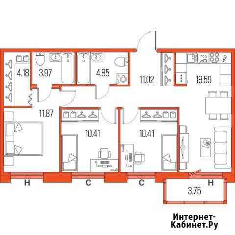 3-комнатная квартира, 75.3 м², 15/22 эт. Санкт-Петербург