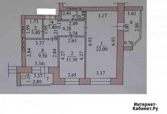 2-комнатная квартира, 65.3 м², 2/9 эт. Чебоксары