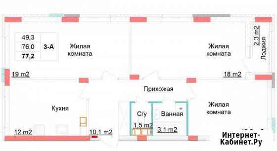 3-комнатная квартира, 77.2 м², 6/10 эт. Нижний Новгород