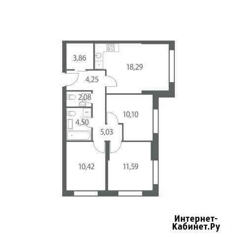 3-комнатная квартира, 70.1 м², 7/51 эт. Москва