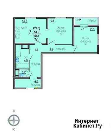 2-комнатная квартира, 56 м², 22/26 эт. Екатеринбург