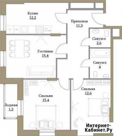 3-комнатная квартира, 74.8 м², 2/17 эт. Москва