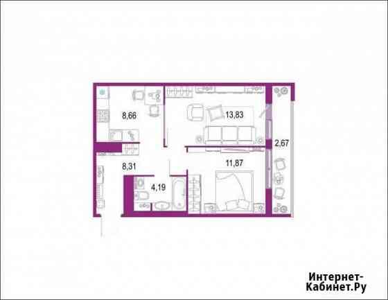 2-комнатная квартира, 49.5 м², 3/22 эт. Кудрово