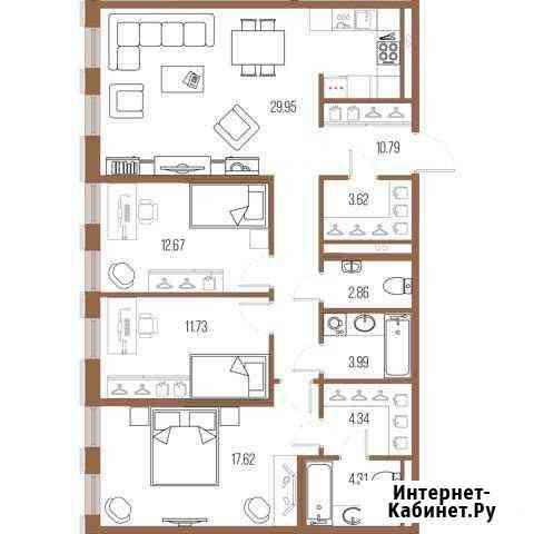 3-комнатная квартира, 101.9 м², 5/8 эт. Санкт-Петербург