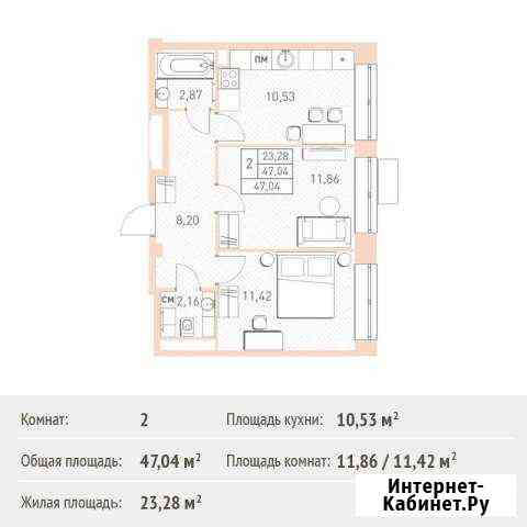 2-комнатная квартира, 47 м², 2/17 эт. Балашиха