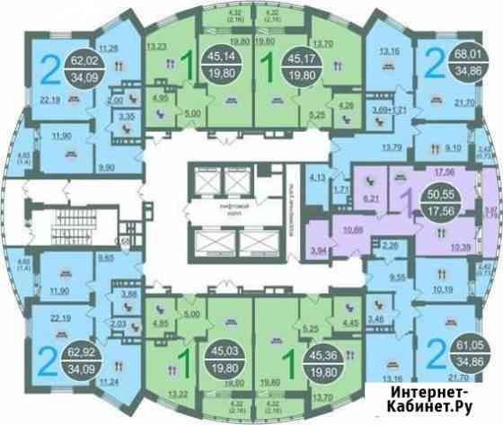 2-комнатная квартира, 61 м², 4/27 эт. Новосибирск