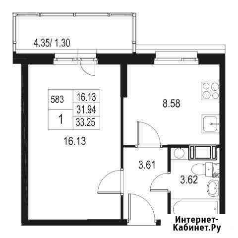 1-комнатная квартира, 33.3 м², 8/10 эт. Санкт-Петербург