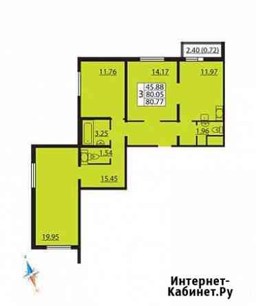 3-комнатная квартира, 80.9 м², 3/17 эт. Санкт-Петербург