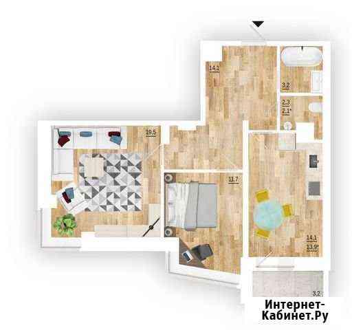 2-комнатная квартира, 64.5 м², 9/16 эт. Волгоград
