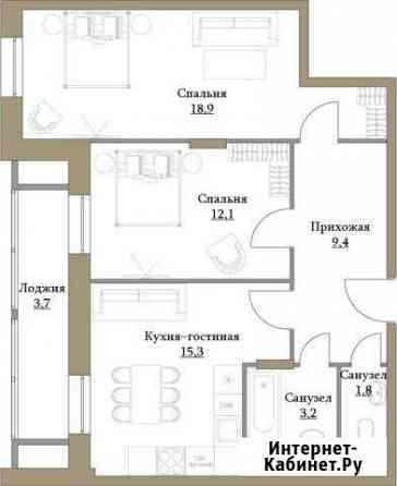 2-комнатная квартира, 64.4 м², 5/17 эт. Москва