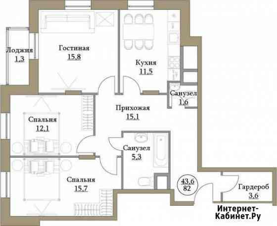 3-комнатная квартира, 81.4 м², 2/17 эт. Москва