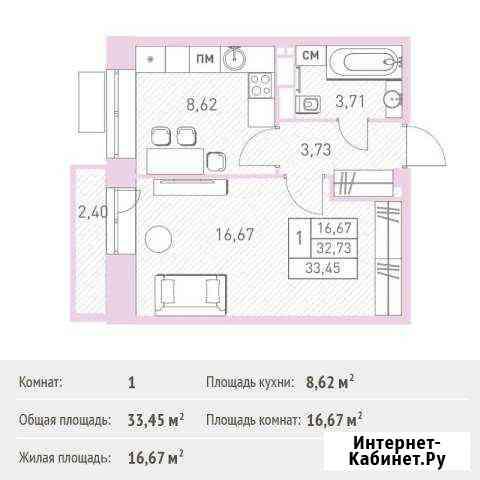 1-комнатная квартира, 33.5 м², 11/17 эт. Балашиха