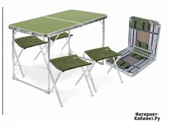 Набор мебели Стол складной +4 табурета (цвет сталь Тамбов