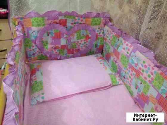 Кроватка с матрасом бортиками и балдахином Барнаул