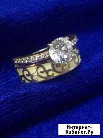 Двойное кольцо с россыпью камней серебро 925 проба Самара