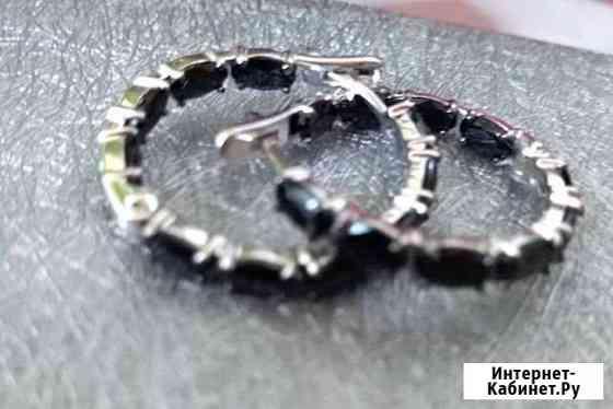 Серебро серьги-пусеты. Натуральная черная шпинель Брянск