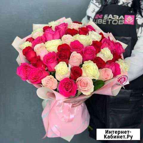 Букет из нежно-розовых и белых роз (60 см) Нижний Новгород