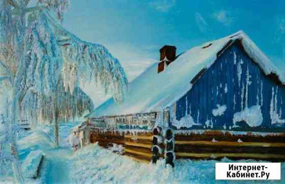 Авторская картина Зимний пейзаж, холст, масло Москва