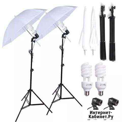 Комплект освещения для фотостудии с зонтами Омск