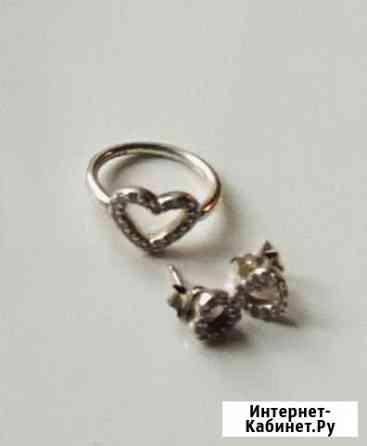 Серебряные серьги и кольцо Pandora Череповец