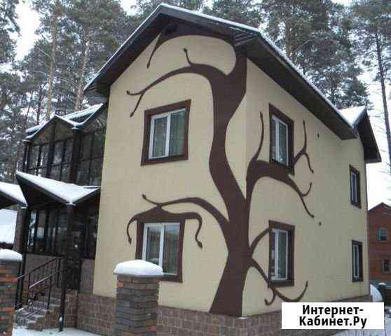Отделка фасада жидким гранитом (каменная краска) Астрахань